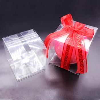 50 Uds cuadrado claro cajas de PVC caja de regalo de boda transparente bolsas de golosinas para fiesta joyería de Chocolate/caramelo/juguetes cajas 5x5x5cm
