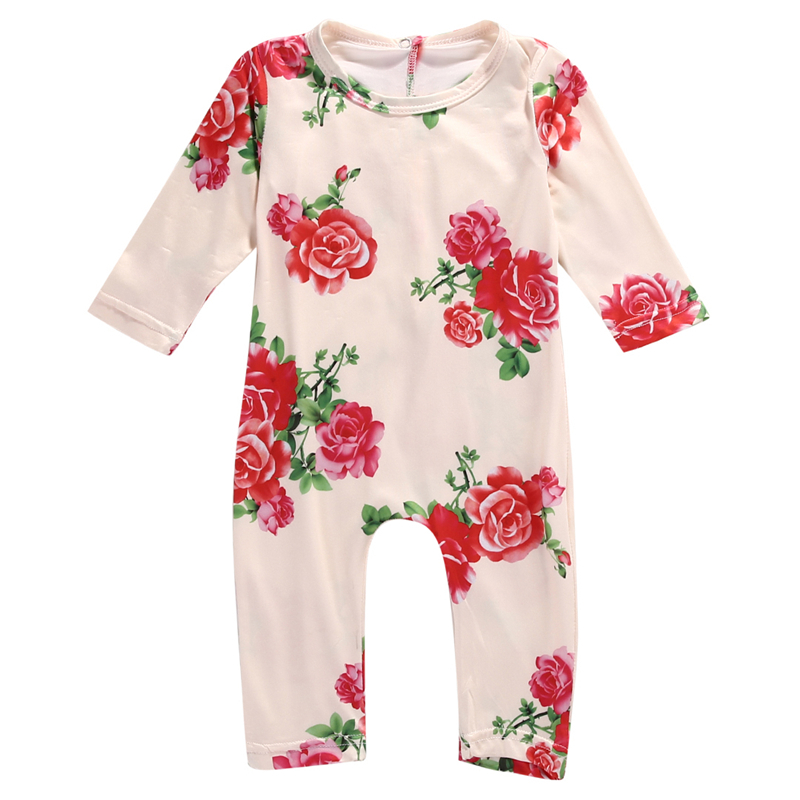 Cute Baby Girl Cotton Romper Newborn Infant Baby Flower Long Sleeve Romper 2017 New Fall Bebes Clothing For Newborns Outfit 0-2Y