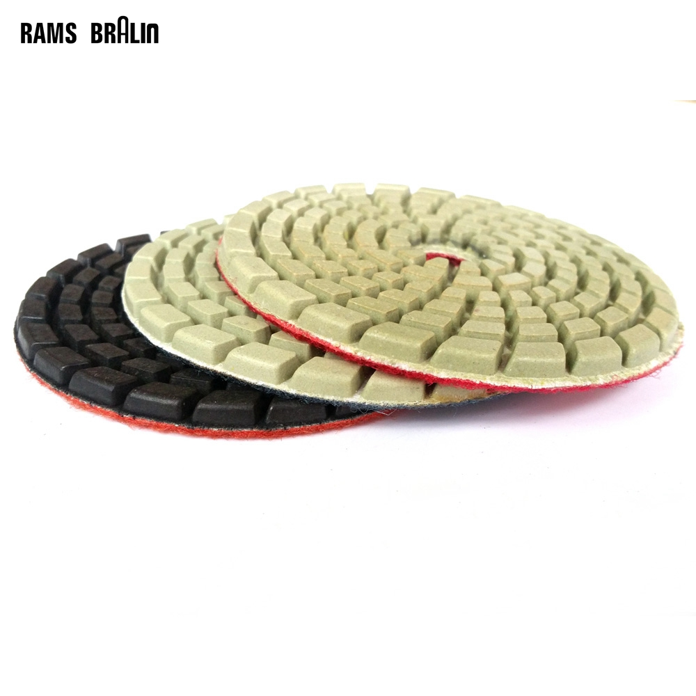 3 Pieces Thickened Wet Diamond Polishing Pad Flexible Grinding Disc Coarse To Fine For Floor Renovation