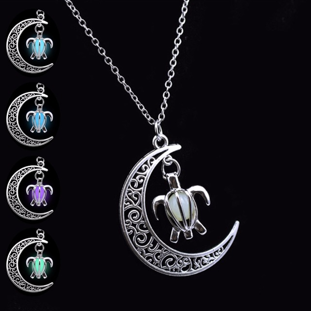 29f7c058e420 Cadena plateada plata Luna tortuga collares y colgantes oscuro brillante en  las mujeres collar luminoso del