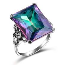 FDLK 1 Pcs Neue Frauen Zirkon Ring Platz Kristall Party Hochzeit Multicolor Ring Beste Schmuck Geschenke
