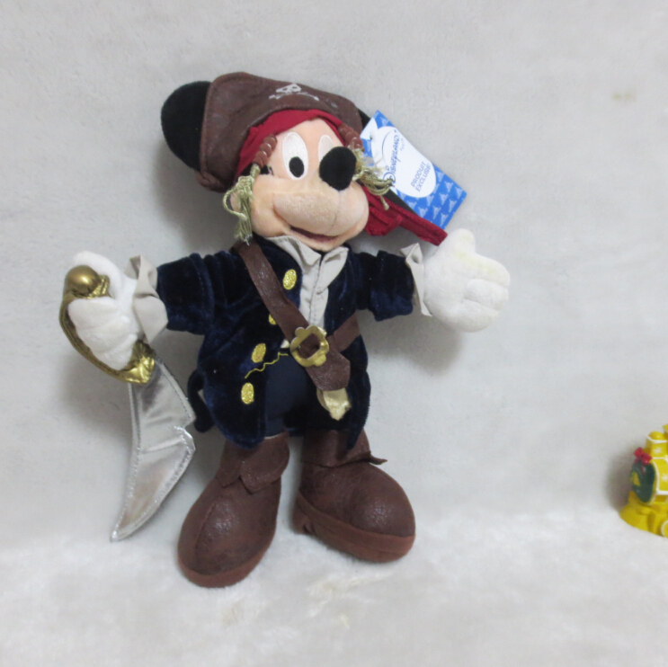 (No Tag) Mickey Mouse Toys Jack Sparrow Pirates of the Caribbean Plush Mickey Pelucia 28cm Kids Toys for Children Gifts