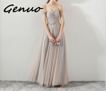 Genuo New 2019 Summer Backless Bodycon Dress Women Strapless Long Maxi Party Dresses Elegant Off Shoulder Sequin Dress Vestidos missord 2020 sexy off the shoulder sequin party dress women high split maxi dress long sleeve party bodycon dress vestidos m0806