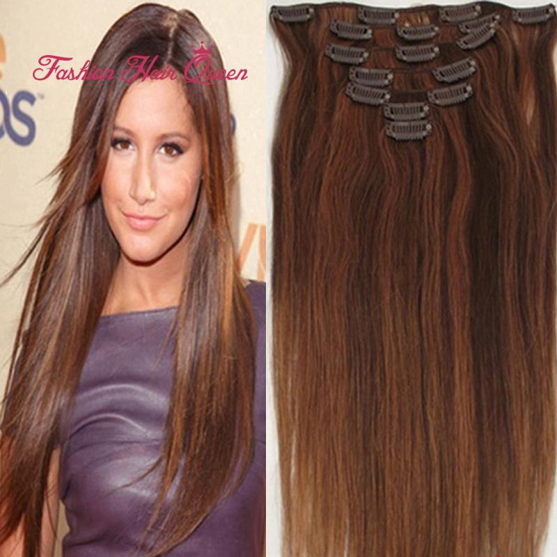 #4/30 Dark Brown Auburn Mix Clip In 100% Brazilian Virgin Remy Real Human Hair Extensions 7pcs 15inch 18inch 20 22 38cm-55cm