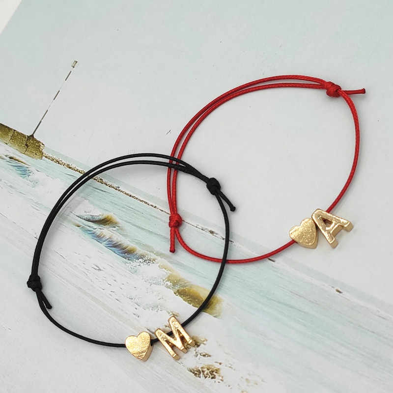 2019 nowe złote kolor małe serce inicjały nazwa Charm bransoletka z literami dla kobiet mężczyzn szczęście ciąg liny czerwone bransoletki prezenty dla par