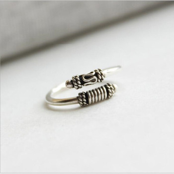 Creative Personality 925 Sterling Silver Jewelry Thai Silver Wukong's Stick Opening Adjustable Female Accessories Ring   SR257 925 sterling silver thai handcrafted individual trendy leaf frosted fine bracelet creative feather lady s ring accessories