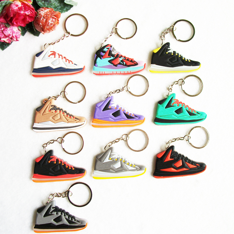 700d57f1cd69 Detail Feedback Questions about Mix 10pcs lot Cute Lebron 10 Key Chain  Sneaker Keychain Key Ring Key Holder for Woman and Girl Gifts Souvenirs on  ...