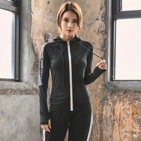 New Running Jacket Long Sleeve Zipper Thumb Hole Sport Coat Women's Breathable Patchwork Gym Fitness Women Tight Tops Four Color
