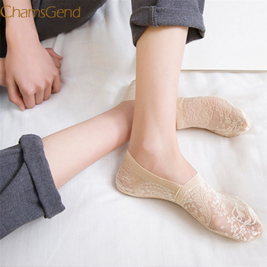 2017 A# hot dropshipping Women Summer Cotton Lace Antiskid Invisible Liner Low Cut Socks