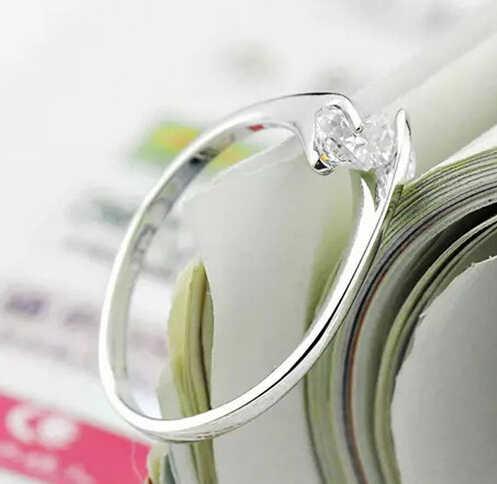 Anenjery 925 スターリングシルバーツイン婚約指輪女性 Anillos オープニングリングウェディングジュエリー S-R41