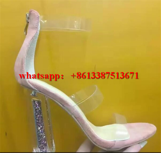 New Summer Transparent Triple Strap Sandals in Clear Peep Toe Lucite Block  Heel Embellished Rainbow Glitter Sandals Shoes Woman-in Women s Sandals from  ... 2d96ac4d4154