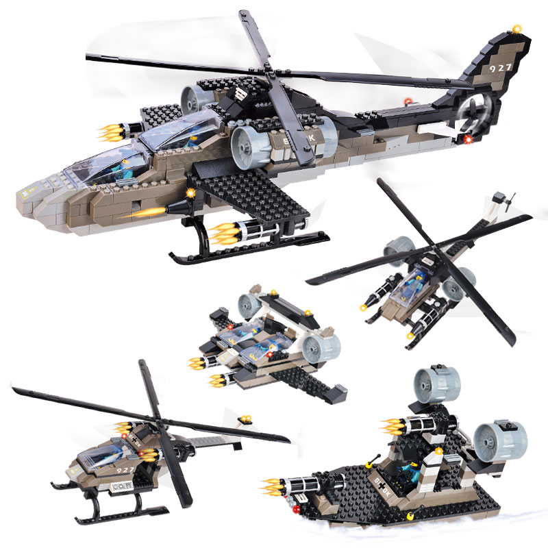 WOMA J5640 Military Series Apache Fighter Helicopter 5 In 1 Sets Building Blocks Enlightenment Toys For Children Educational Toy