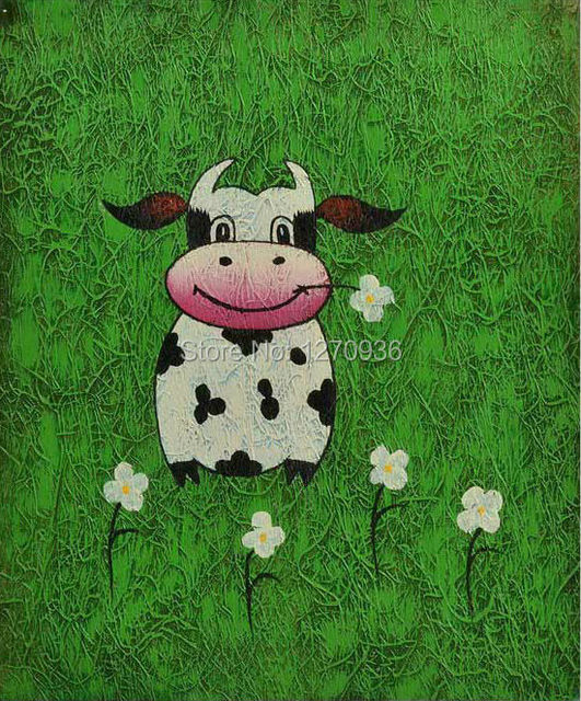 Hand Painted Abstract Clever Happy Dancing Little Cow in Green Grassland 100% handmade Modern Funny Animal Canvas Oil Paintings