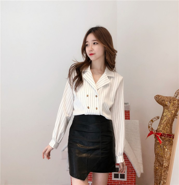Shirts Women Simple Retro Striped All-match Double-breasted Korean Style Students Notched Womens Elegant Blouses Loose Chic 2019 19