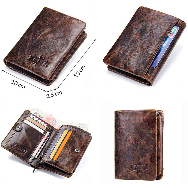 CONTACT'S Genuine Cowhide Leather Men Wallet Trifold Wallets Fashion Design Brand Purse ID Card Holder With Zipper Coin Pocket 5