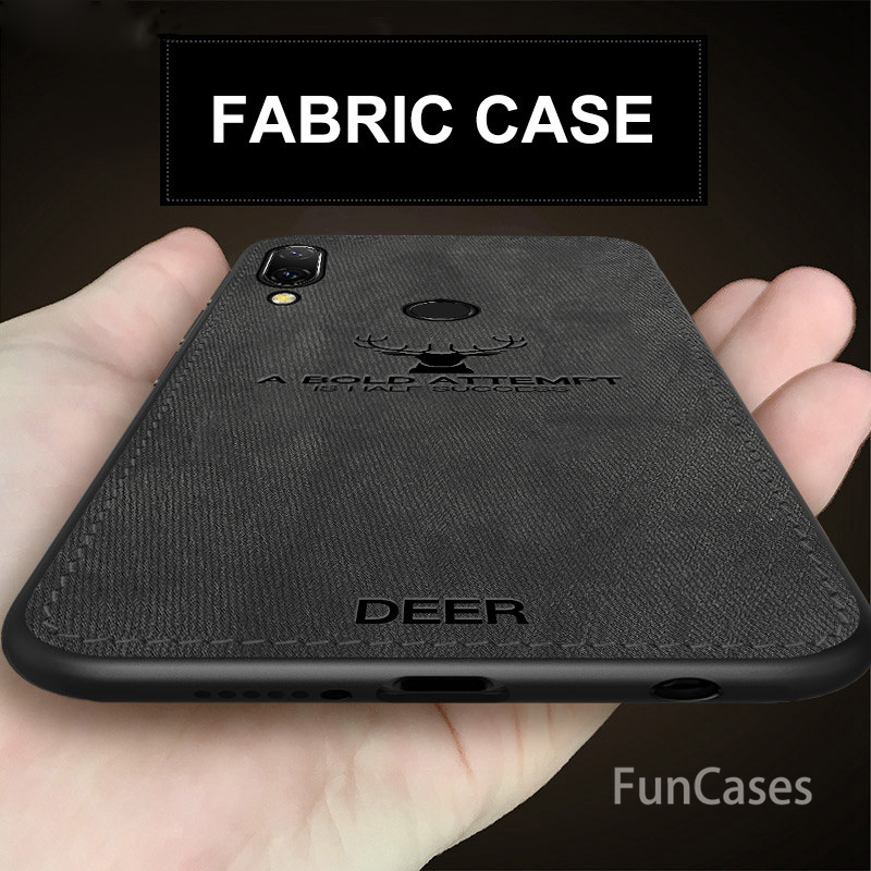 Fabric Cases For Huawei P Smart 2019 Case Soft Silicone Deer Fabric Back Cover For Huawei Honor 10 Lite Case Shorkproof Fundas(China)