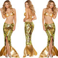 2017 adult Mermaid Cosplay Costumes Gold Long Skirt Sequin Decoration and Bra Set Halloween Costumes For Women Mermaid Tail