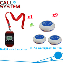 Wireless Table Buzzer Bell System Long Range Distance Order Service Pager For Resraurant CE Passed( 1 watch + 9 call button )