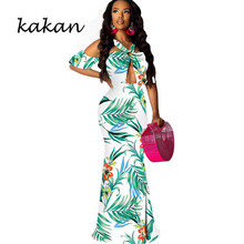 Kakan digital print tube top dress fashion sexy sleeveless hollow big swing  2019 summer new womens