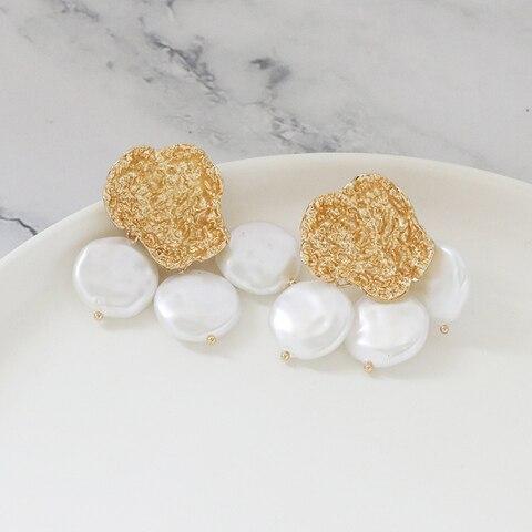 FASHIONSNOOPS New Sea Shell Pendant Earrings Gold Statement Earrings For Women Weddings Party Irregular Geometric Jewelry Gift Karachi