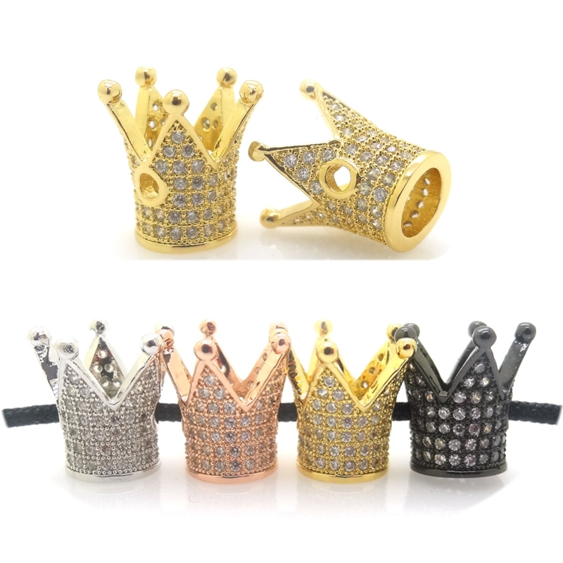 Beads Wholesale Luxury Micro Pave Cubic Zirconia Crown Beads For Men Bracelet Making Jewelry Charm Rose Gold Color Brass Spacer Bead Beads & Jewelry Making