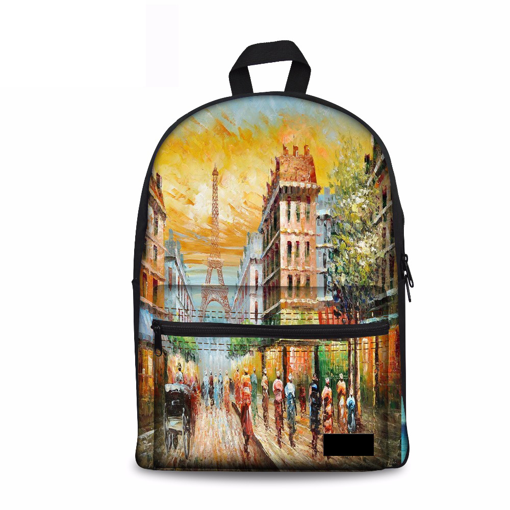 Canvas School Bag Backpack 3D Eiffel Tower Printing Women Backpacks for Adolescent Girl  ...