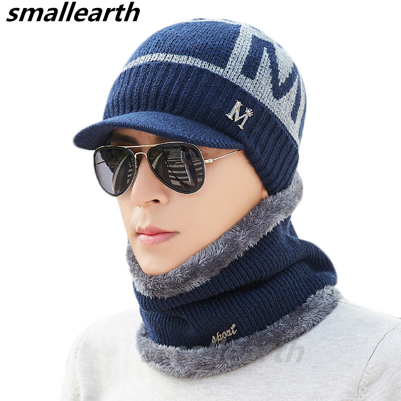 Hat-Sets Scarf Beanies-Caps Hats Velvet Knitted Winter Women New Warm Male Unisex 2-Pieces