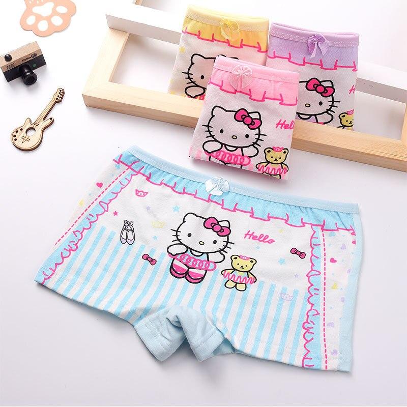 4 Teile/los Mode Kinder Mädchen Katze Unterwäsche Kinder Boxer Kurze Infant Baby Mädchen Höschen Innen Unterhose