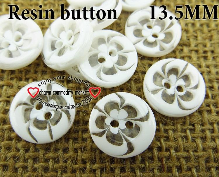 100 шт 13,5 мм разные прозрачные Цветы Форма окрашенная Смола пуговицы пальто сапоги швейная одежда аксессуары украшения пуговицы R-135-1 - Цвет: White