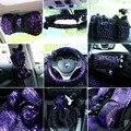 Mulheres da moda Mei Mei Urso Car Seat Cover Interior Acessórios Pele de pelúcia Cobertura De Volante Universal Tampa do Cinto de Segurança Set-roxo