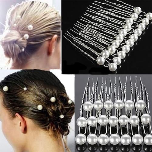 2016 20PCS Charm Wedding Party Bridal Hair Pins Clip Barrette White Faux Pearl Hairpins for HairStyle 8MMS