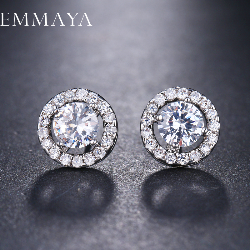 EMMAYA 4 Prongs Setting Top Quality CZ Cubic Zirconia Stud Earrings for Women Cheap Fashion Jewelry