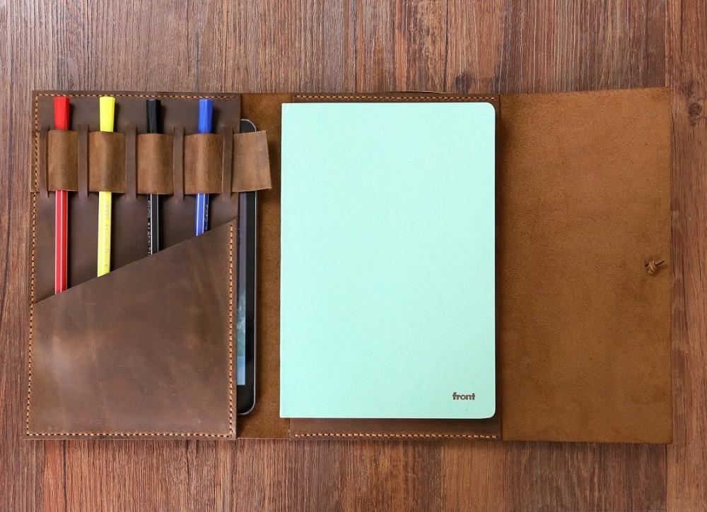 Travel distressed leather cover organizer portfolio for A5 Moleskin ...