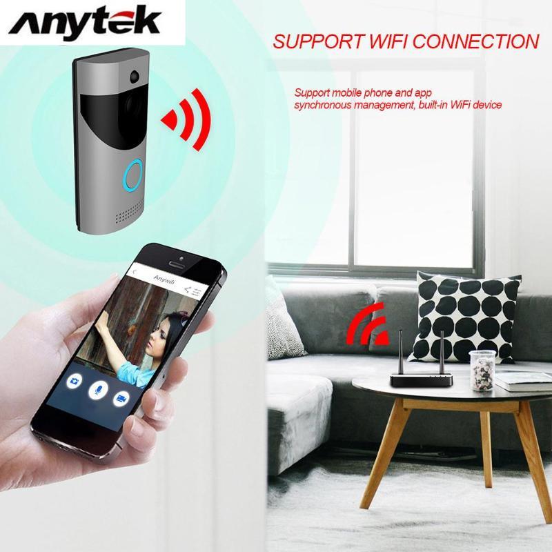 Anytek B30 Sans Fil WiFi Interphone Vidéo Sonnette Caméra + B10 Sonnette Récepteur Ensemble Porte Cloche Caméra Wifi Vidéo Nuit Vision - 4