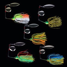 Goture 5pcs/lot 17.5g Spinnerbait Bass Fishing Lure Blade Skirt Metal Spoon Spinner Bait Rig Pike Carp Fishing Tackle