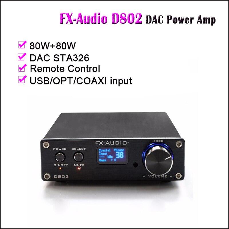 FX Audio D802 USB DAC Amplifier Audio STA326 Digital Power Amplifier Hifi DAC Amp 80W Optical Coaxial Input Amplifiers