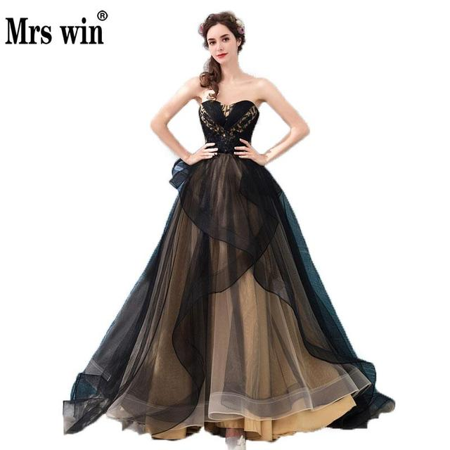 New Design Gorgeous Black Evening Dress Sexy Strapless Lace Floor-length  Long Prom Party Gowns Formal Dresses Robe De Soiree C 75bce6812852
