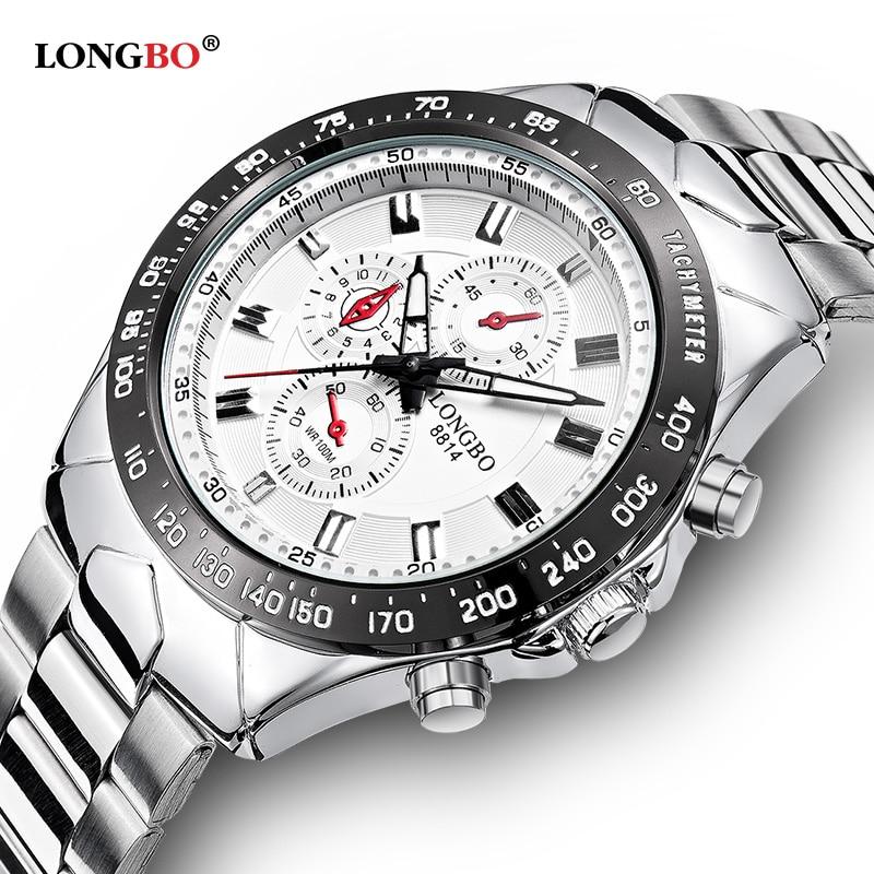 9a06ec6effa 2017 New LONGBO Men s Stainless Steel Military Watches Men Sports Quartz- Watch S-shock Waterproof hub Wristwatch 8814 foamposite