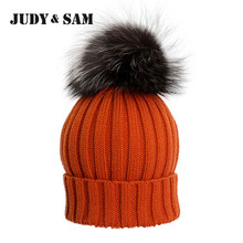 New Fashion Quality 16 Colors Wool Blend Hats For Boys and Girls with Genuine Silver Fox Fur Pom Pom Adult Size Beanie Caps