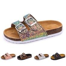 22a118632 2019 nuevos niños zapatillas de playa verano niños corcho sandalias Bling  lentejuelas de la familia leopardo zapatos descalzos p.