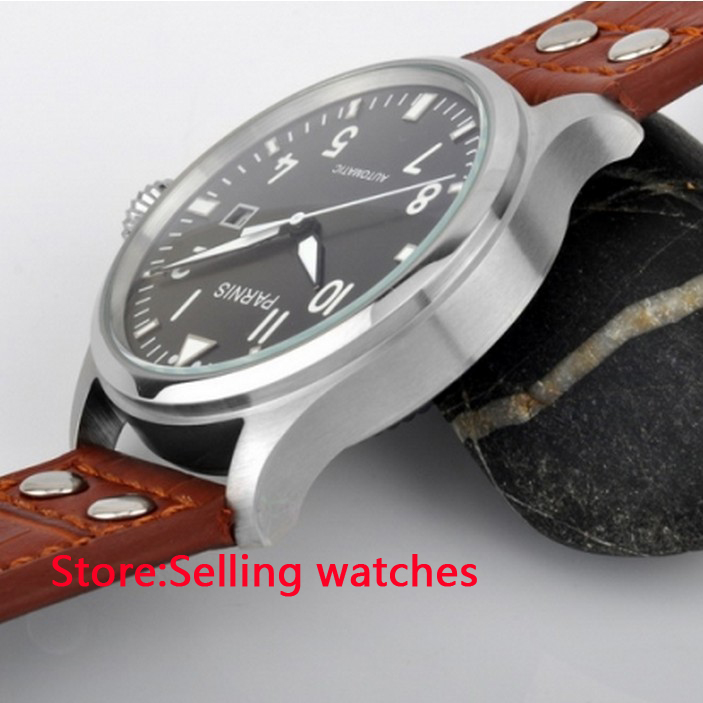 47mm Parnis Gray Dial White Number Automatic men watch