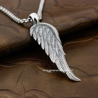 Angel Bird Wing Feather 2 Side Solid 925 Sterling Silver Pendant 8A008(Necklace 24inch)
