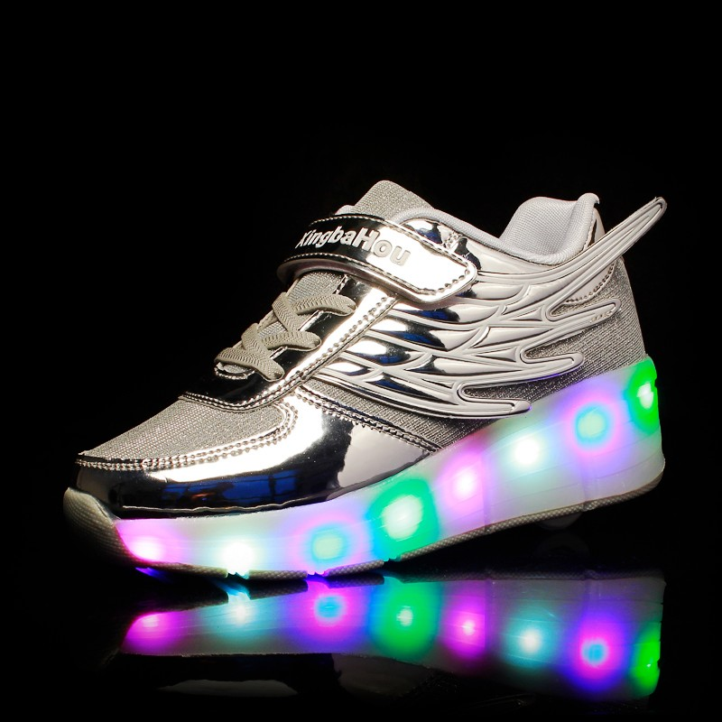 Image 5 - New Pink Gold Silver Child Fashion Girls Boys LED Light Roller Skate Shoes For Children Kids Sneakers With Wheels One wheelsSneakers   -