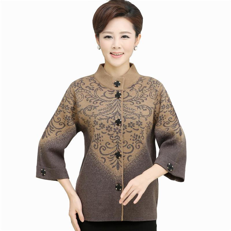 New Women Thickening Sweater outerwear Mother Fifth sleeve Cardigan Plus Size Single-bre ...