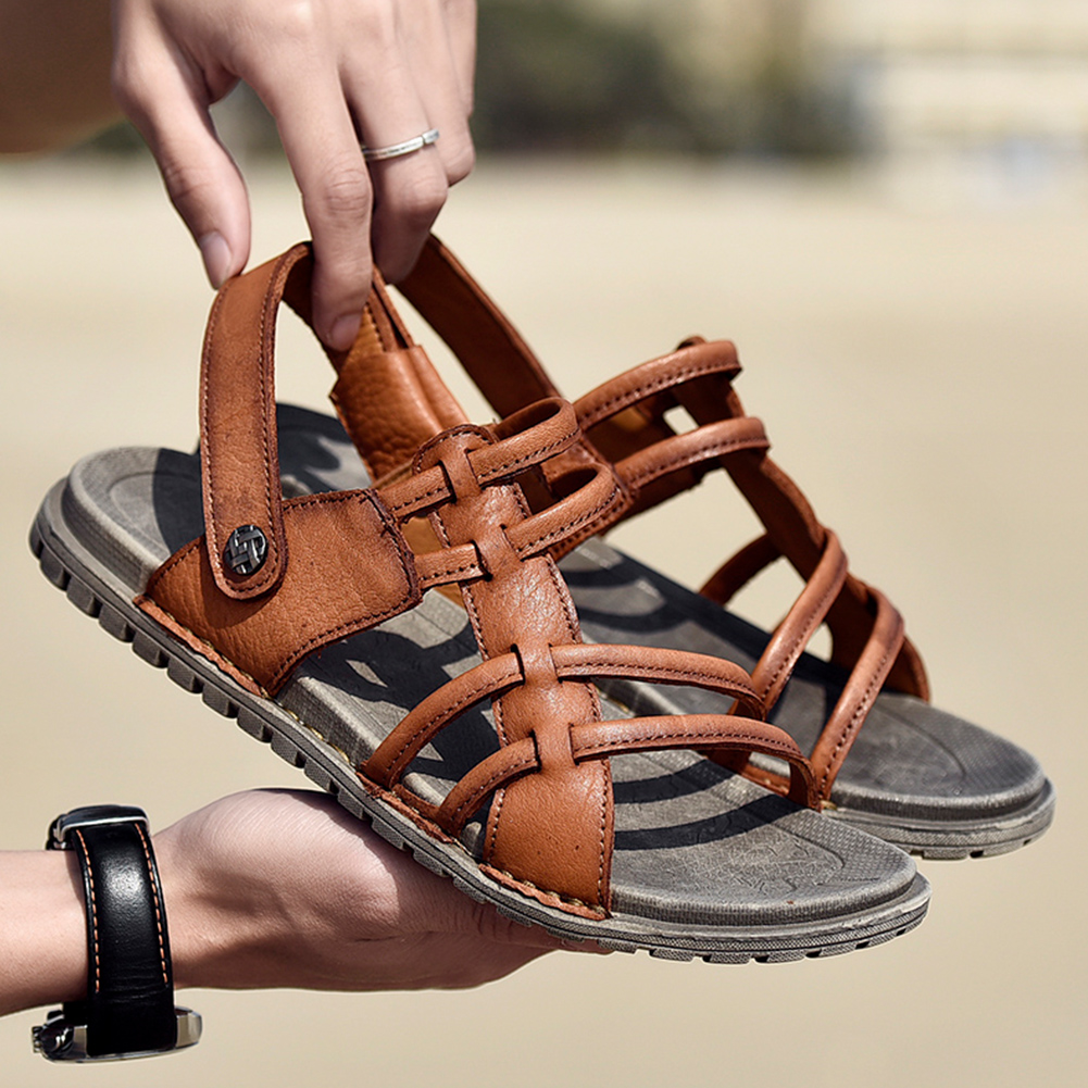 Mens Athletic Outdoor Sandals Open Toe Slippers Casual Leather Flat Shoes Soft Comfortable Beach Sandals(China)