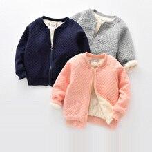 BibiCola kids boys girls warm jacket leisure jacket plus velvet spring children's wear cotton shirt late autumn warm outwear