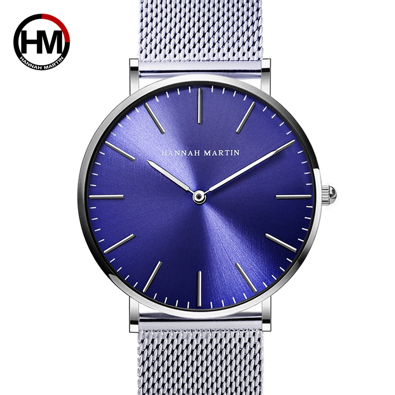 65ef1b2cead2 Stainless Steel watchband Blue Dial Luxury Men Watches Japan Quartz Movement  Waterproof WristWatch Fashion Simple Stylish