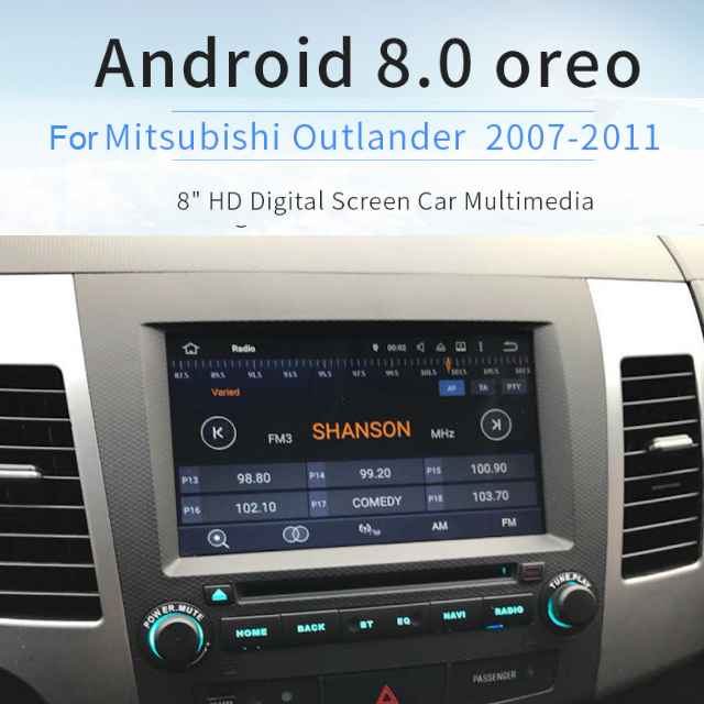 2 din Car android GPS radio for Mitsubishi Outlander 2007 2008 2009 2010 2011 2012 2013 IPS Screen 4Gb+32Gb Android 8.0 8-Core