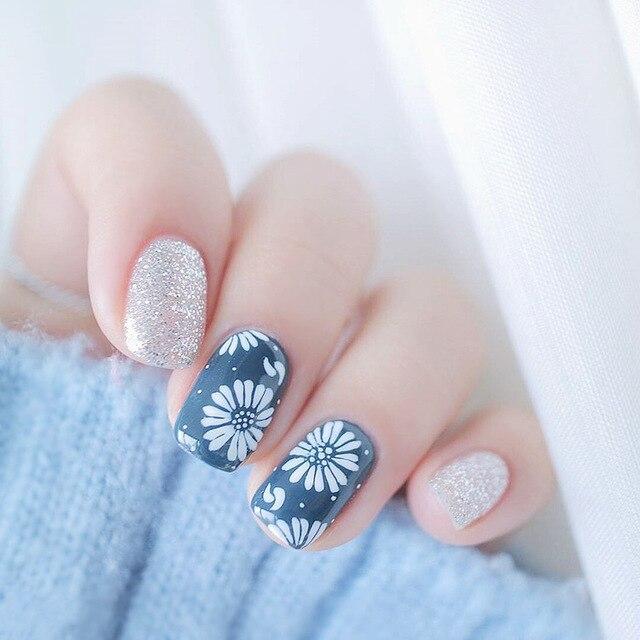 Новый 24 шт. блеск живопись японской вишни floral элегантный дизайн площадь смола Nail Art Ложные Nail Совет набор С клей