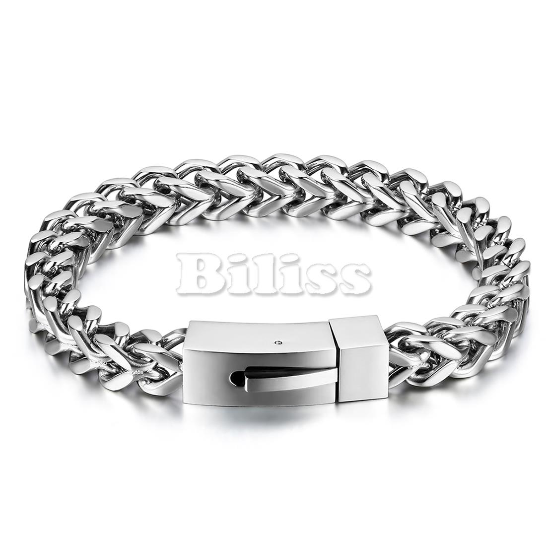 8mm Anti Allergic Heavy Solid Stainless Steel Mens Wheat Spiga Chain Link Bracelet 8 3 Silver Colour With Gift Bag In Bracelets From